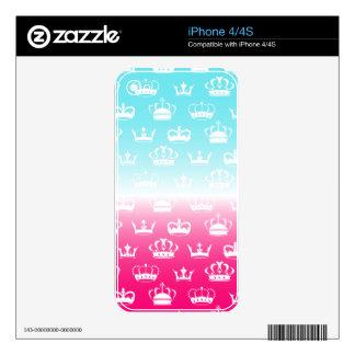 Princess crown pattern with gradient iPhone 4S skins