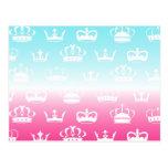 Princess crown pattern with gradient postcard