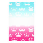Princess crown pattern with gradient stationery