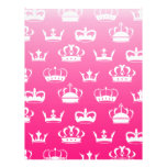 Princess crown pattern with pink gradient letterhead