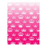 Princess crown pattern with pink gradient postcard