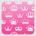 Princess crown pattern with pink gradient square sticker