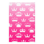 Princess crown pattern with pink gradient stationery
