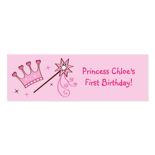 Princess crown personalized favor gift tags double sided for Personalized gift cards for businesses