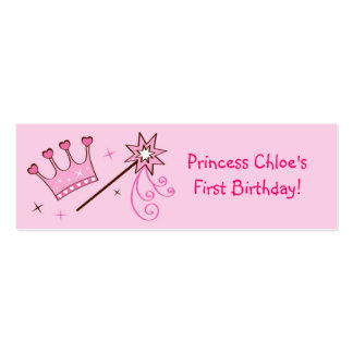Princess Crown Personalized Favor Gift Tags Mini Business Card