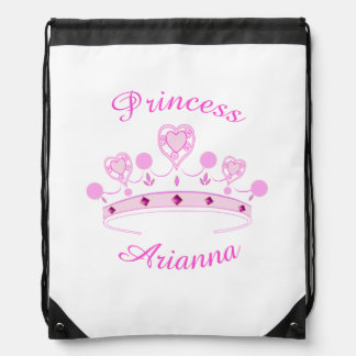 Princess Crown Personalized Drawstring Backpacks