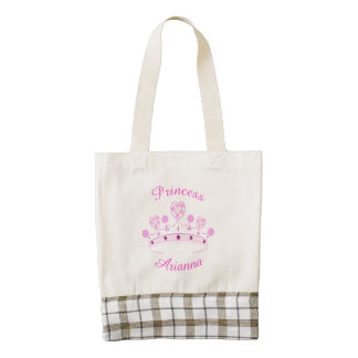 Princess Crown Personalized Zazzle HEART Tote Bag