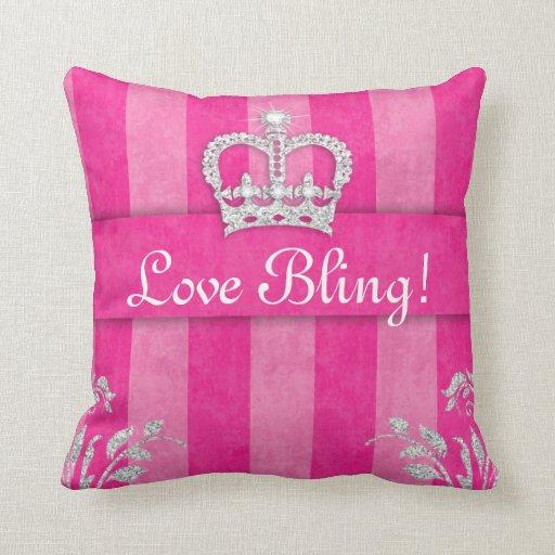 Princess Crown Pillow PInk Tiara Bling