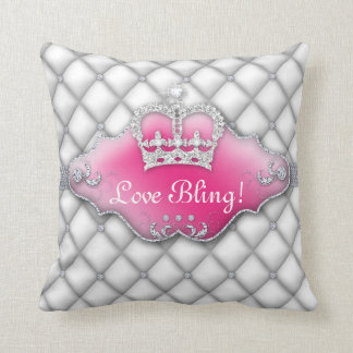 Princess Crown Pillow Tufted Satin Diamond White 2