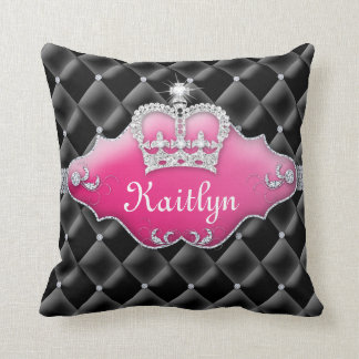 Princess Crown Pillow Tufted Satin Diamonds Black