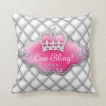 Princess Crown Pillow Tufted Satin Diamonds BW