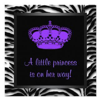Princess Crown Purple Zebra Baby Girl Shower Invite