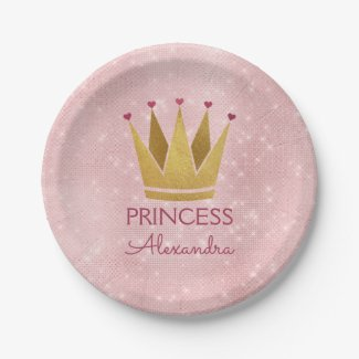 Princess Crown Rose Gold Blush Pink Sparkle Paper Plate
