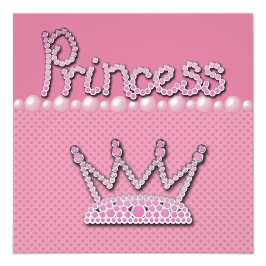 Princess Crown Shoes & Jewel Pacifier Baby Shower Card
