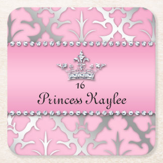 Princess Crown Sweet 16 Quinceanera Damask Coaster Square Paper Coaster