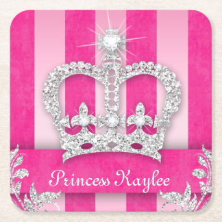 Princess Crown Sweet 16 Quinceanera Stripe Coaster Square Paper Coaster