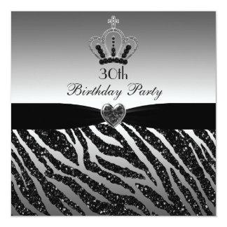 Princess Crown Zebra Glitter 30th Birthday Card