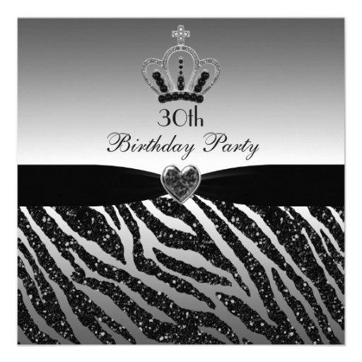 Princess Crown Zebra Glitter 30th Birthday Custom Invitations