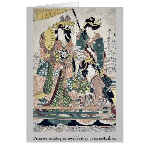 Princess cruising on royal boat by UtamaroII,d. ca Greeting Card