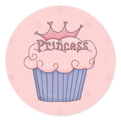 Princess cupcake round sticker by avcreativedesign