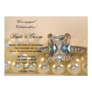 Princess Cut Diamond and Pearls Engagement Party Card