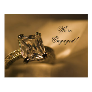 Princess Cut Diamond Ring Engagement Announcement Postcard