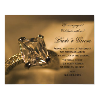 Princess Cut Diamond Ring Engagement Party Invite