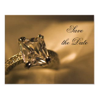 Princess Cut Diamond Ring Wedding Save the Date Card