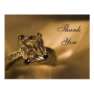 Princess Cut Diamond Ring Wedding Thank You Note Postcard