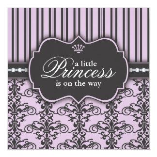 Princess Damask & Stripe Black Purple Baby Shower 5.25x5.25 Square Paper Invitation Card