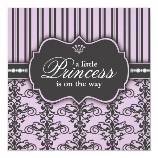 Princess Damask & Stripe Black Purple Baby Shower Custom Announcement