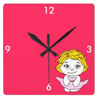 Princess Dancing Cartoon Square Wall Clock