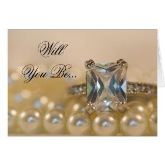 Princess Diamond and Pearls Bridesmaid Invitation Cards