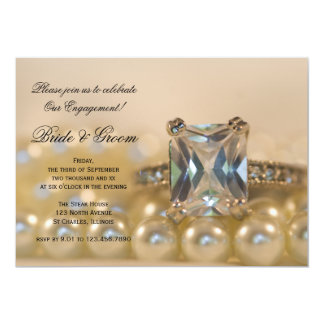 Princess Diamond and Pearls Engagement Party 5x7 Paper Invitation Card