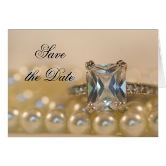 Princess Diamond and Pearls Save the Date Card