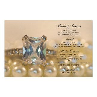 Princess Diamond and Pearls Wedding Menu Stationery Paper
