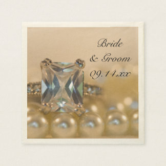 Princess Diamond and Pearls Wedding Paper Napkins