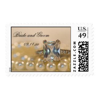Princess Diamond Ring and Pearls Wedding Postage