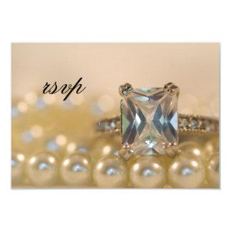 Princess Diamond Ring and Pearls Wedding RSVP Card