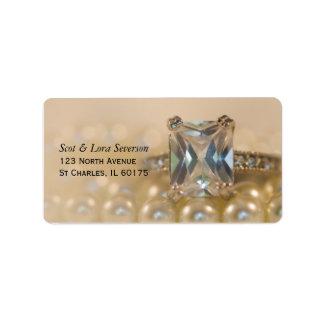 Princess Diamond Ring and Pearls Wedding RSVP Card Address Label