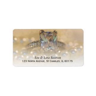 Princess Diamond Ring and Pearls Wedding RSVP Card Label