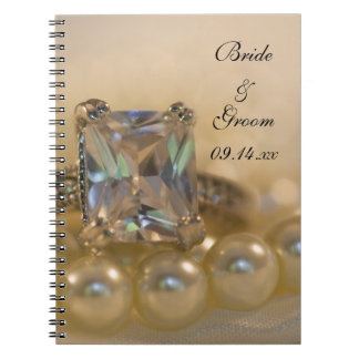 Princess Diamond Ring and White Pearls Wedding Notebook