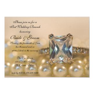 Princess Diamond Ring Pearls Post Wedding Brunch Card