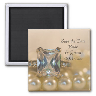 Princess Diamond Ring Pearls Wedding Save the Date 2 Inch Square Magnet