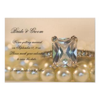 Princess Diamond Ring Pearls Wedding Save the Date Card