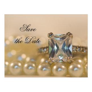 Princess Diamond Ring Pearls Wedding Save the Date Postcard