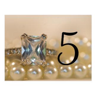 Princess Diamond Ring Pearls Wedding Table Numbers Postcard