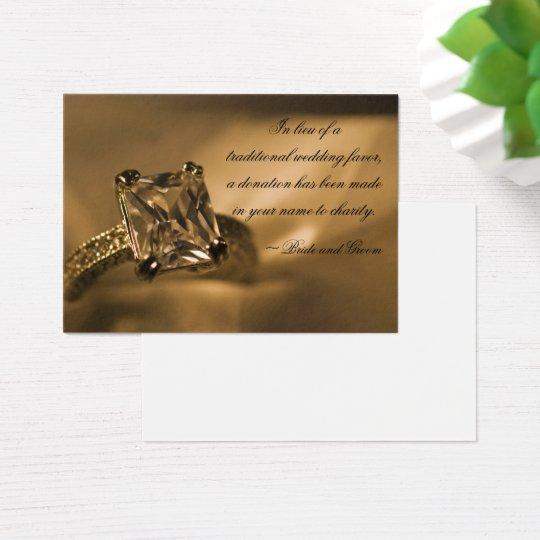 Princess Diamond Ring Wedding Charity Favor Card