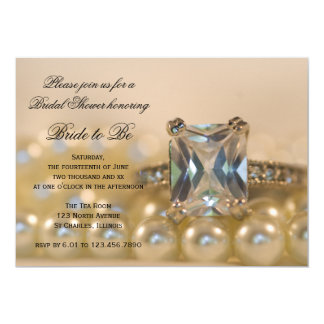 Princess Diamond Rings and Pearls Bridal Shower Card