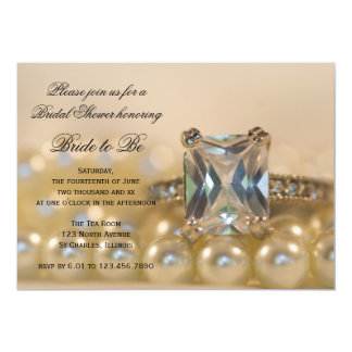 Princess Diamond Rings and Pearls Bridal Shower Card